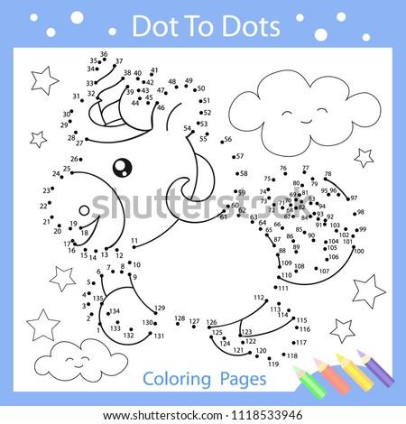 Worksheets Dot Dots Drawn Funny Unicorn Stock Vector Royalty Free