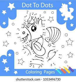 Worksheets dot to dots with drawn the unicorn. Children funny drawn riddle. Coloring page for kids. Activity art game with cute horse. Vector illustration.