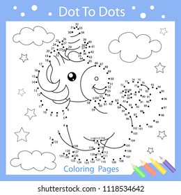 Worksheets dot to dot with drawn the funny unicorn. Children funny art riddle. Drawing lesson and coloring page for kids. Activity art game with cute horse. Vector illustration.