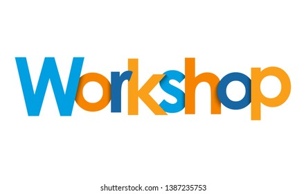 WORKSHOP blue and orange vector typography banner