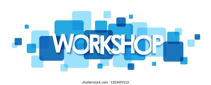 WORKSHOP blue typography banner