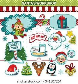 Santaâ??s workshop Christmas holiday illustration collection