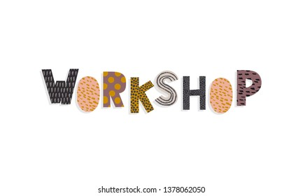 Workshop collage word for banner and title vector illustration