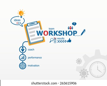 Workshop concept and notebook. Hand writing Workshop with blue marker.