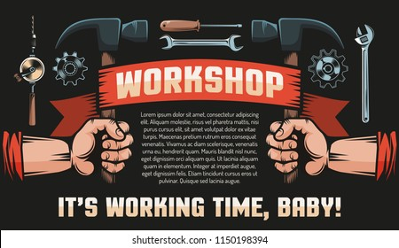 Workshop DIY vintage retro poster - hands with hammers, heraldic banner, tools and inscriptions. Black background.