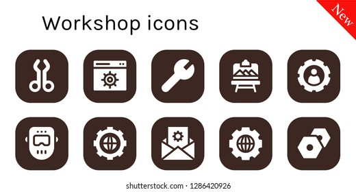 workshop icon set. 10 filled workshop icons. Simple modern icons about  - Tool, Settings, Artboard, Welder