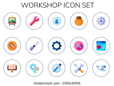 workshop icon set. 15 flat workshop icons.  Simple modern icons about  - artboard, wrench, chisel, settings, pottery, tools, lectern, anvil