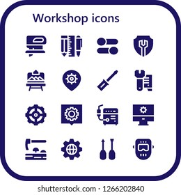 workshop icon set. 16 filled workshop icons. Simple modern icons about  - Fretsaw, Tools, Settings, Artboard, Screwdriver, Wrench, Welder, Adze