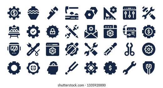 workshop icon set. 32 filled workshop icons. on blue background style Collection Of - Settings, Artboard, Welder, Pottery, Screwdriver, Wrench, Setting, Adze, Configuration, Tuning