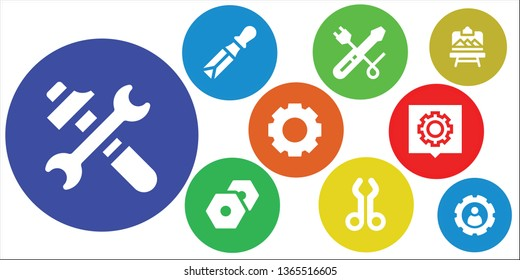 workshop icon set. 9 filled workshop icons.  Simple modern icons about  - Tools, Chisel, Screwdriver, Settings, Tool, Artboard