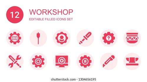 workshop icon set. Collection of 12 filled workshop icons included Settings, Auger, Screwdriver, Tools, Setting, Configuration, Cutter, Pottery, Anvil