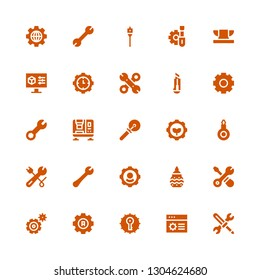 workshop icon set. Collection of 25 filled workshop icons included Tools, Settings, Pottery, Wrench, Threader, Cutter, Press machine, Anvil, Screwdriver, Auger