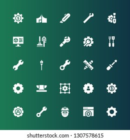 workshop icon set. Collection of 25 filled workshop icons included Settings, Welder, Wrench, Setting, Anvil, Screwdriver, Tools, Auger, Cutter, Tool