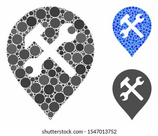 Workshop map marker mosaic of spheric dots in different sizes and color tones, based on workshop map marker icon. Vector round dots are grouped into blue composition.