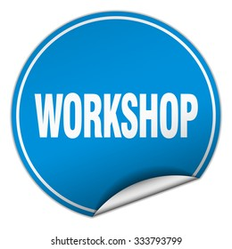 workshop round blue sticker isolated on white