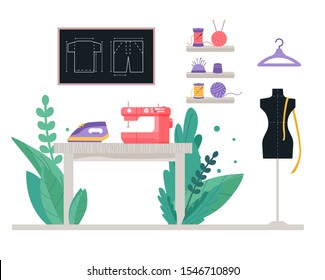 Workshop for a seamstress, fashion designer, dressmakers - there is a sewing machine, a mannequin, threads, drawings, a hanger, needles, an iron on the table, around flowers and plants.