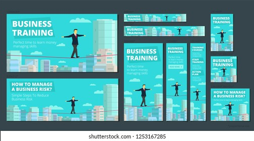 Workshop training activity. How to Manage Business risk. Businessman walking tightrope funambulist rope-dancer balance-master.