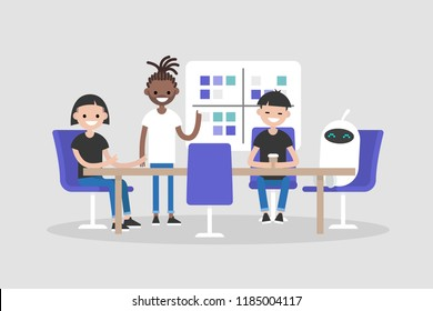 Workshop training. Modern office. Millennials at work. Machine learning. New technologies. Human and robot. Discussing the strategy of the company. Business meeting