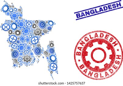 Workshop vector Bangladesh map composition and stamps. Abstract Bangladesh map is composed of gradiented scattered gearwheels. Engineering territorial scheme in gray and blue colors,