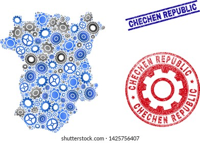Workshop vector Chechen Republic map collage and seals. Abstract Chechen Republic map is done from gradient random gearwheels. Engineering territorial scheme in gray and blue colors,