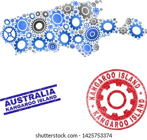 Workshop vector Kangaroo Island map composition and stamps. Abstract Kangaroo Island map is formed of gradiented scattered gearwheels. Engineering geographic scheme in gray and blue colors,