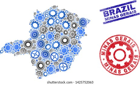 Workshop vector Minas Gerais State map composition and stamps. Abstract Minas Gerais State map is formed of gradiented scattered gearwheels. Engineering territorial plan in gray and blue colors,