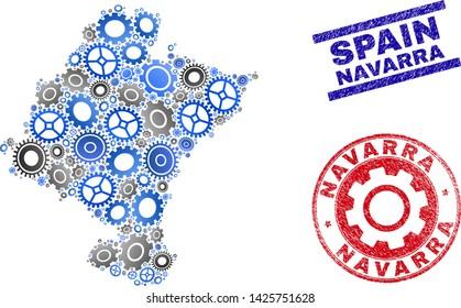 Workshop vector Navarra Province map composition and seals. Abstract Navarra Province map is designed from gradient random gearwheels. Engineering territory scheme in gray and blue colors,