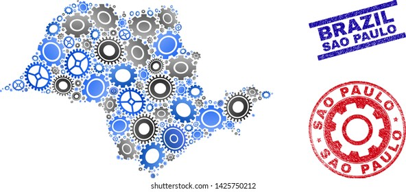 Workshop vector Sao Paulo State map collage and seals. Abstract Sao Paulo State map is composed of gradient random gearwheels. Engineering territory scheme in gray and blue colors,