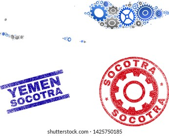 Workshop vector Socotra Archipelago map mosaic and stamps. Abstract Socotra Archipelago map is composed with gradient scattered gear wheels. Engineering geographic scheme in gray and blue colors,