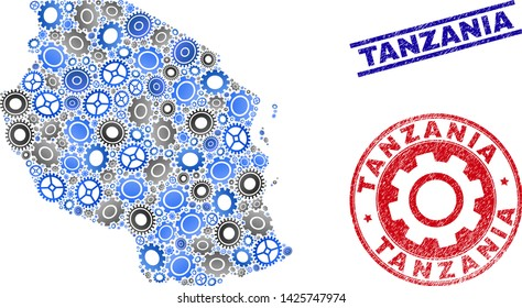 Workshop vector Tanzania map mosaic and stamps. Abstract Tanzania map is formed with gradiented randomized gearwheels. Engineering geographic plan in gray and blue colors,