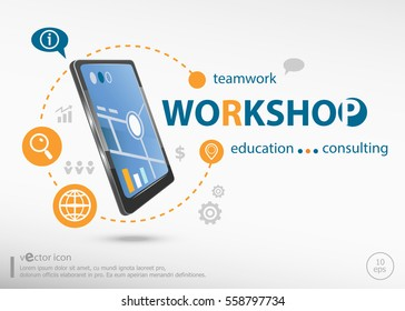Workshop word cloud concept and realistic smartphone black color. Infographic business for graphic or web design layout