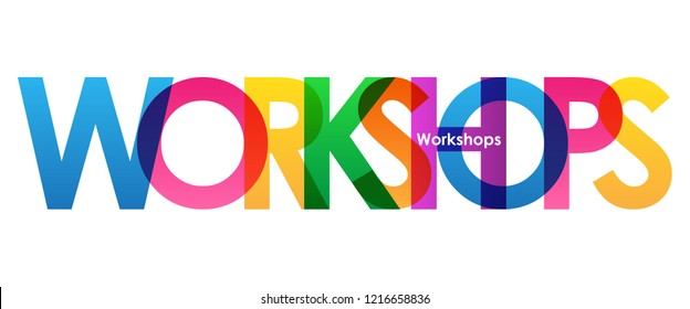 WORKSHOPS rainbow letters banner