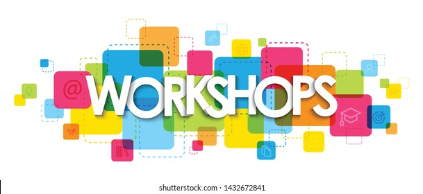 WORKSHOPS vector typography banner on colorful squares