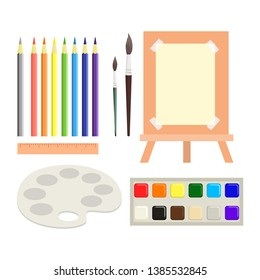 Workspace for children's art and drawing creativity - pencils, aquarel paints, paper, easel, palette, ruler, and brushes.