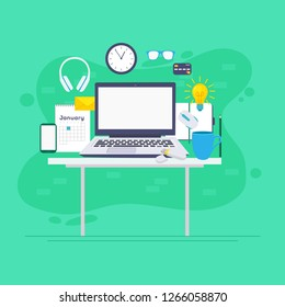 Workspace concept with devices. Workspace, analytics, optimization, management. Modern vector illustration concept, isolated on white background