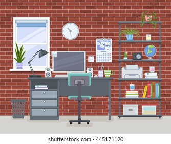 Workspace for freelancer in flat style. Home room with workplace and shelving unit with red brick wall. Vector illustration
