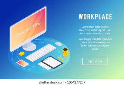 Workspace. Isometric concept of the workplace with a computer, smartphone, coffee and claim form on the tablet. 3d office workplace . Trendy isometric background. Vector illustration.
