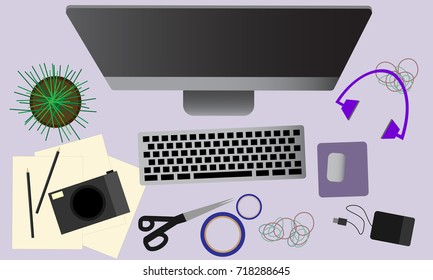 Workspace with retro camera, scissors, diary, coffee and pen. Top view of photographer and designer desk concept illustration vector.
