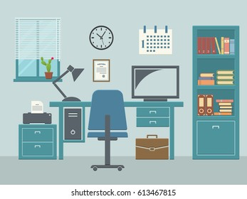 Workspace in room with window interior with desk chair home computer and bookcase. Flat vector illustration.