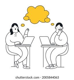 Workspace with two talking people, they are sitting in front of each other with laptops and have the common speech bubble. Teamwork, discussion of something, conversation. Thin lie elegance vector