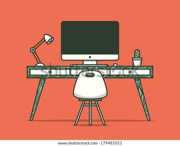 Workspace. Vector illustration.