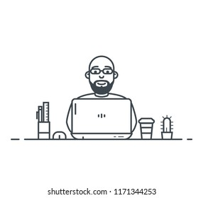 Workspace of wordpress web designer or programmer with laptop. Flat style linear vector. Laptop with cactus and pen with ruler. Thin line modern style vector illustration. Working with notebook.