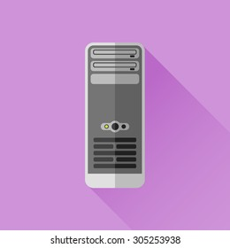 Workstation or computer case flat style icon. Vector illustration.