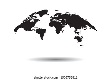 World 3d black map vector, isolated on white background with shadow.