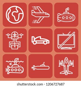 World, aeroplane, drone, televisions, submarine, formula icon set suitable for info graphics, websites and print media and interfaces