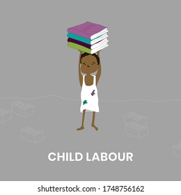 World against child labour day, stop child labour, Child carrying books on head, Bricks or books