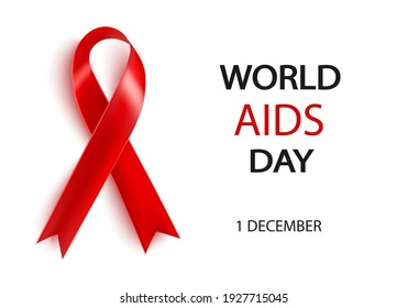 World AIDS Day 1 December .Realistic red ribbon on white background.Applicable for posters, postcards.
