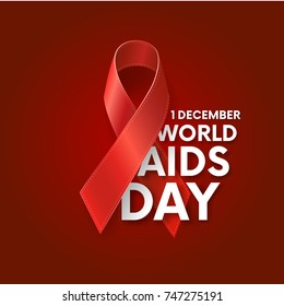 World AIDS Day. 1st December. Red Ribbon. World Aids Day poster.Aids Awareness. Concept with text. Vector illustration