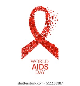 World AIDS Day awareness poster. Red ribbon made of dots on white background. Medical concept. Vector illustration.