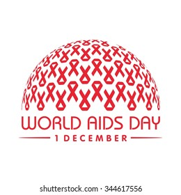 World AIDS day. AIDS awareness. AIDS red ribbon. World AIDS day - 1 December. HIV & STI. logo vector. icon vector.